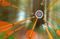 Damm av pilar som flyger till ett bågskyttemål i suddig rörelse, tolkning 3D Royaltyfria Bilder