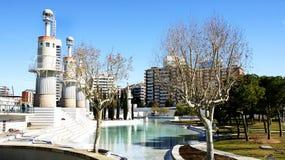 Damm av trädgårdarna av den industriella Spanien i Sants Fotografering för Bildbyråer