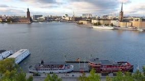 Damm der alten Stadt Stockholm stockfotografie