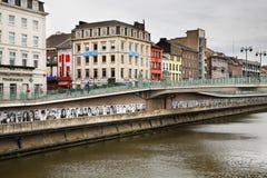 Damm des Flusses Sambre in Charleroi belgien Lizenzfreie Stockfotos
