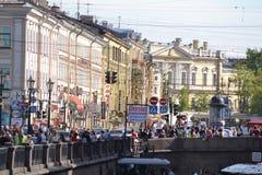 Damm des Flusskanals in St Petersburg Lizenzfreie Stockfotografie
