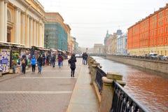 Damm des Griboedov-Kanals Stockbilder