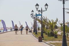 Damm des Olympiaparks in Sochi, Adler, Russland Lizenzfreies Stockbild