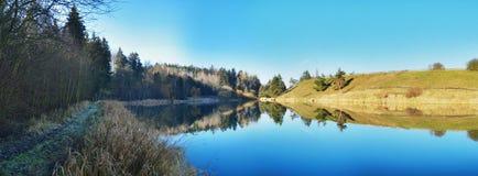 Damm i vinterreflexion Fotografering för Bildbyråer