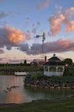 Damm och Gazebo på solnedgången Fotografering för Bildbyråer