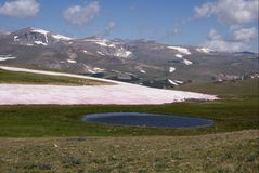 Damm och tundra i de Beartooth bergen royaltyfri foto