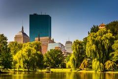 Damm på den offentliga trädgården och byggnader i Boston, Massachusetts arkivbilder