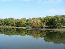 Damm som en flod, i en parkera Arkivbild