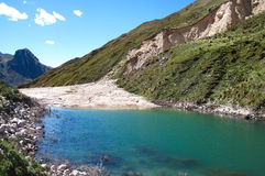 Damm som skapas av en jordskred, centrala Peru Fotografering för Bildbyråer