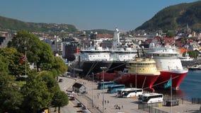 Damm und Seehafen Bergen, Norwegen stock footage