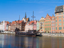 Damm von Motlawa Fluss, Gdansk Lizenzfreies Stockbild