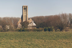 Damme Church Steeple and Rural Town with Field Royalty Free Stock Photos
