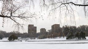 Dammet frystes och täcktes med snö kallt Royaltyfri Fotografi