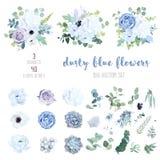 Dammig blå blek purpurfärgad ros, vit vanlig hortensia, ranunculus stock illustrationer