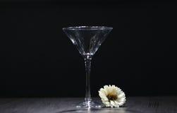 Dammiga tomma exponeringsglas för stilleben på svart bakgrund Royaltyfri Bild