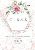 Dammigt rosa, krämigt - vit antik ros, blek ram för bröllop för blommavektordesign vektor illustrationer