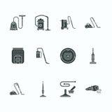 Dammsugare sänker skårasymboler Olika vakuum skriver - industriellt, hushållet, handheld som är robotic, kanister, blöta torrt vektor illustrationer