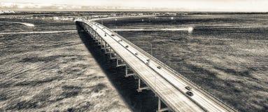Dammvogelperspektive Miamis Rickenbacker, Florida - USA Lizenzfreie Stockbilder
