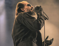 The Damned singer Dave Vanian live in concert 2017 punk rock Royalty Free Stock Images