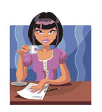 Damned wretch. Vector brunette damned wretch with a cup of coffee Royalty Free Stock Images
