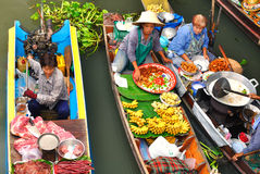 damnoen浮动的市场saduak泰国 免版税库存照片