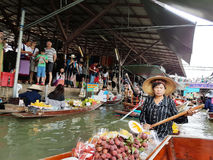 damnoen flottörhus marknadssaduak thailand Royaltyfria Foton
