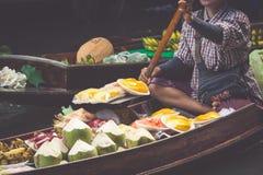 Damnoen Saduak floating market in Ratchaburi near Bangkok, Thail Royalty Free Stock Images