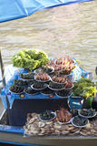 Damnoen saduak floating market, Thailand with food sale Stock Photos