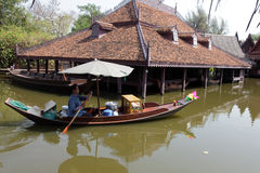 Damnoen Saduak floating market in Thailand. Stock Photo