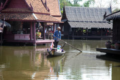 Damnoen Saduak floating market in Thailand. Royalty Free Stock Image