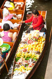 Damnuan Saduak floating market in Middle of Thailand. Stock Image