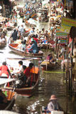 Damnuan Saduak floating market in Middle of Thailand. Royalty Free Stock Photos