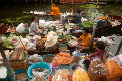Damnuan Saduak floating market in Middle of Thailand. Royalty Free Stock Photography