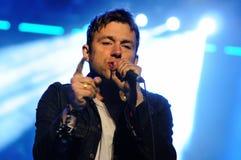 Damon Albarn, lider plamy zespół, wykonuje przy Heineken Primavera dźwięka 2013 festiwalem Zdjęcie Stock