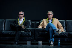 Damon Lindelof and carlton Cuse. David Lindelof and  Carlton Cuse, creative masterminds of LOST,  on stage at the Royal Hawaiian Theater, Honolulu, Hawaii, after Royalty Free Stock Images