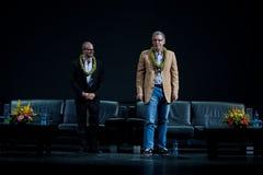 Damon Lindelof and Carlton Cuse. David Lindelof and  Carlton Cuse, creative masterminds of LOST,  on stage at the Royal Hawaiian Theater, Honolulu, Hawaii, after Royalty Free Stock Photos