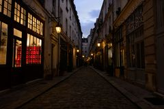View of a Parisian alley in the district of Bastille, France royalty free stock photo