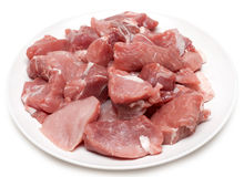 Damp Meat On White Plate Stock Image