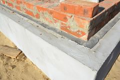 Damp proof membrane on top of foundation walls. Bitumen waterproof membrane for house foundation construction. Damp proof membrane on top of foundation walls Royalty Free Stock Photo