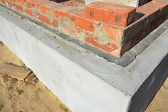 Damp proof membrane on top of foundation walls corner. Close up on Damp proof membrane on top of foundation walls corner Royalty Free Stock Photography