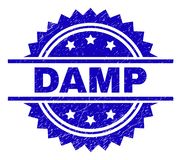 Scratched Textured DAMP Stamp Seal. DAMP stamp seal watermark with distress style. Blue vector rubber print of DAMP title with dirty texture stock illustration