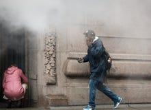 Damp van straat ondergronds in NYC Stock Foto's