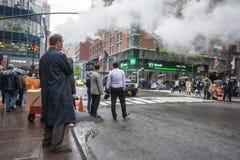 Damp van straat ondergronds in NYC Stock Fotografie