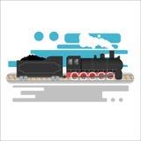 Dampf angetriebene sich fortbewegende Vektorillustration Retro- Zug der Weinlese Flaches Design der alten antiken Maschinerie Stockfotografie