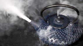 Dampf, der vom Teetopf auftaucht stock video