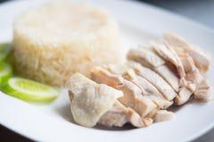 Dampf-Huhn mit Reis-Hainan-Huhn Stockfotos