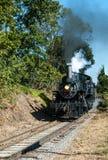 Dampf-Lokomotive, die hinunter die Bahn läuft lizenzfreies stockbild