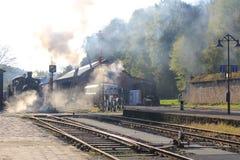 Dampf-Lokomotive in Luxemburg, Fond de G^ras Stockfotos