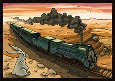 Dampf-Lokomotive und Kaninchen Stockbilder