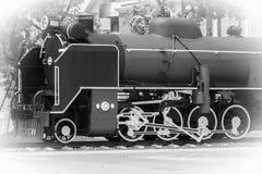 Dampf-Maschinen-Lokomotive, B&W Stockbilder
